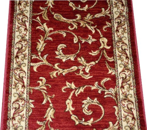 Dean Red Scrollworks Carpet Rug Hallway Stair Runner - Purchase by the Linear Foot -