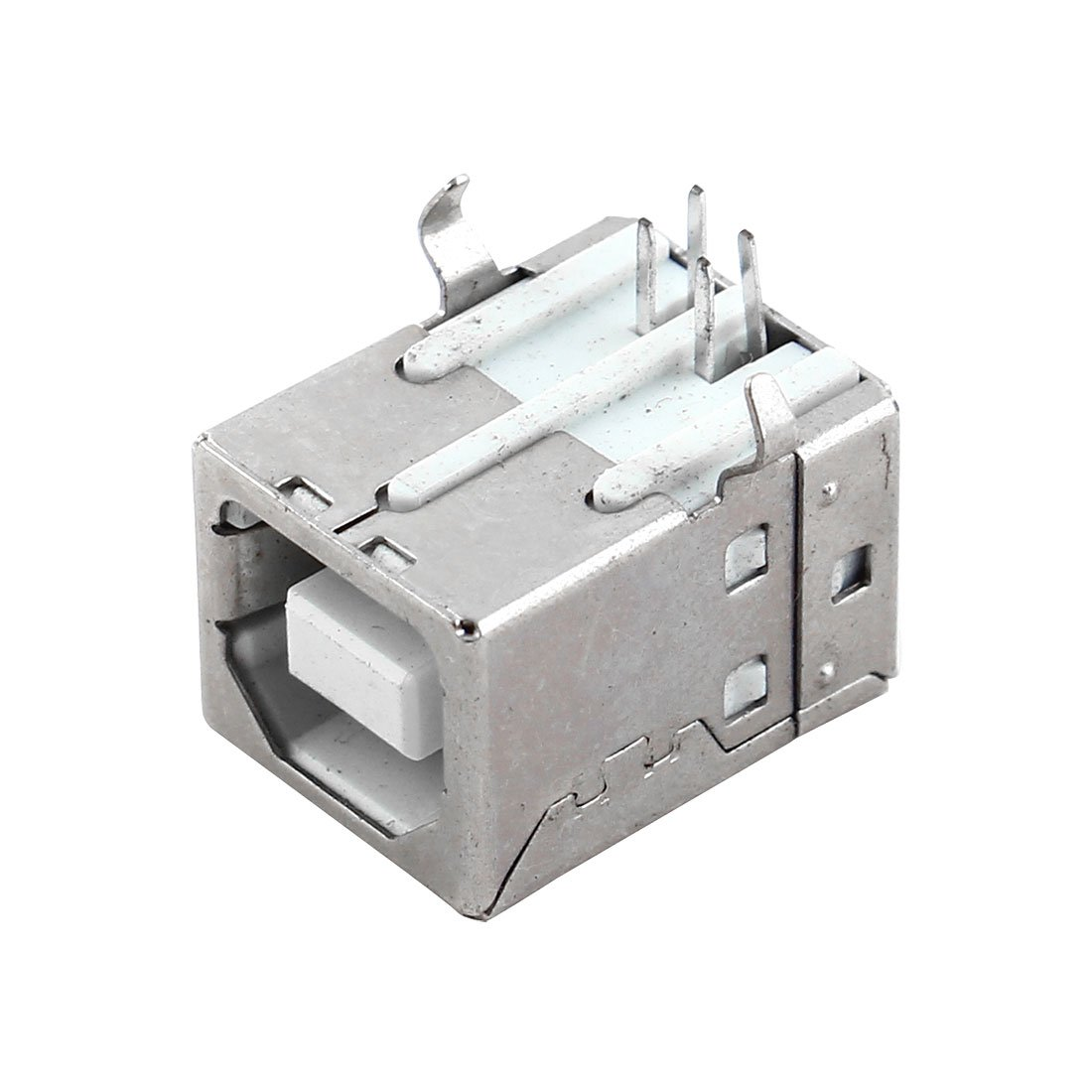 Uxcell a11121400ux0134 Shielded USB Type B Female Port 4 Pins PCB Mount Jack Connector Silver Tone