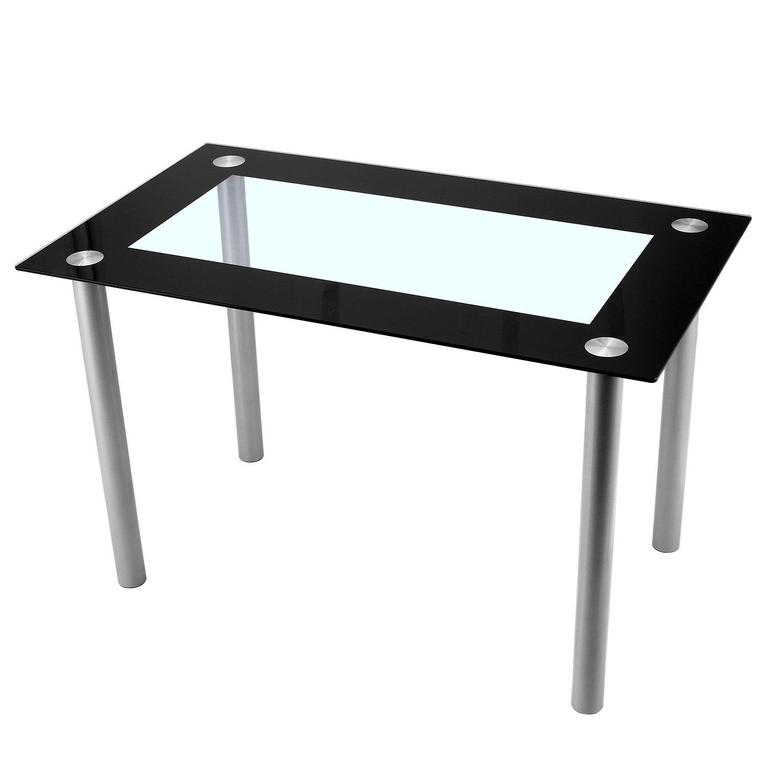 Kaluo Black Modern Dinning Table, Rectangular Glass Top Table Home Furniture (1 Table)