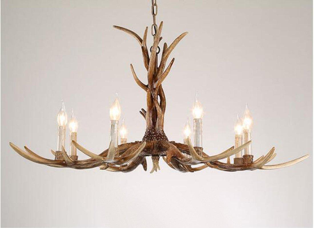 Kreative E14 Retro Harz Geweih Kronleuchter 3/6/8 Kopf Kerze Kronleuchter Schauraum / Kaffee / Bar Innenbeleuchtung (keine Lampen)
