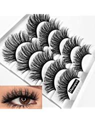 Mixed 3D Mink Hair False Eyelashes Full Strips Thick Cross Long Lashes Wispy Fluffy Eye Makeup Tools5 Pairs (#1)