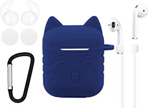 IiEXCEL Airpods Case Smile Cat Cartoon, 5 in 1 Airpods Accessories Kits Cute Lovely Lucky Cat Silicone Cover with Keychain Ear Hook Strap Foam Earbuds for Apple Airpods Charging Case (Deep Blue)