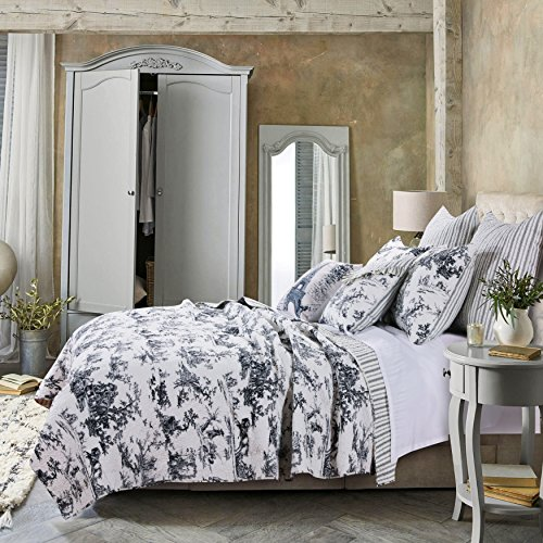 3 Piece King, Romantic Style Classic Toile Pattern Quilt Set, Traditional French Country Elegance Design, Rustic Old World Imaginary Themed, Stripe Reversible Bedding, Adorable Black, White Color by AF ULTRA