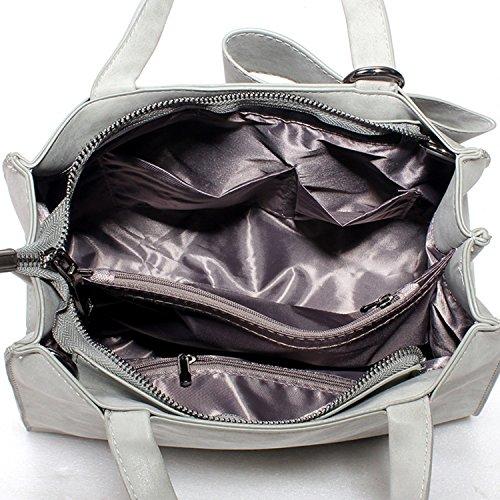 BYD mujeres alta capacidad bolsa de hombro Bolso de monedero de mensajero de leather bolso de hombro de moda de vendimia mujeres Decoración arco bolsas negro