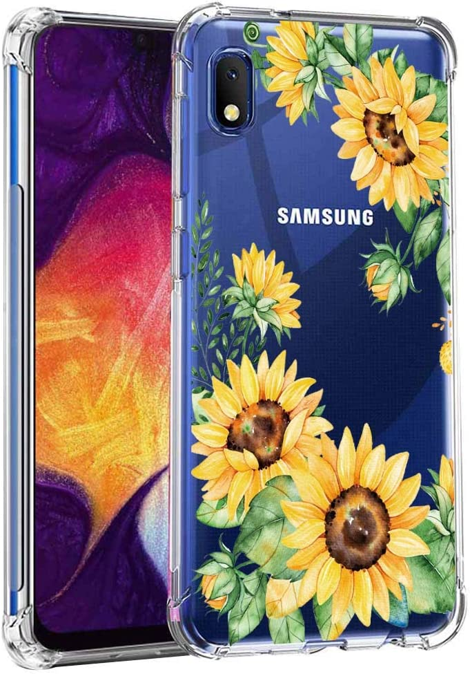 Leychan for Samsung Galaxy A10E case, Slim Flexible TPU for Girls Women Airbag Bumper Shock Absorption Rubber Soft Silicone Case Cover Fit for Samsung Galaxy A10E (Sun Flower)