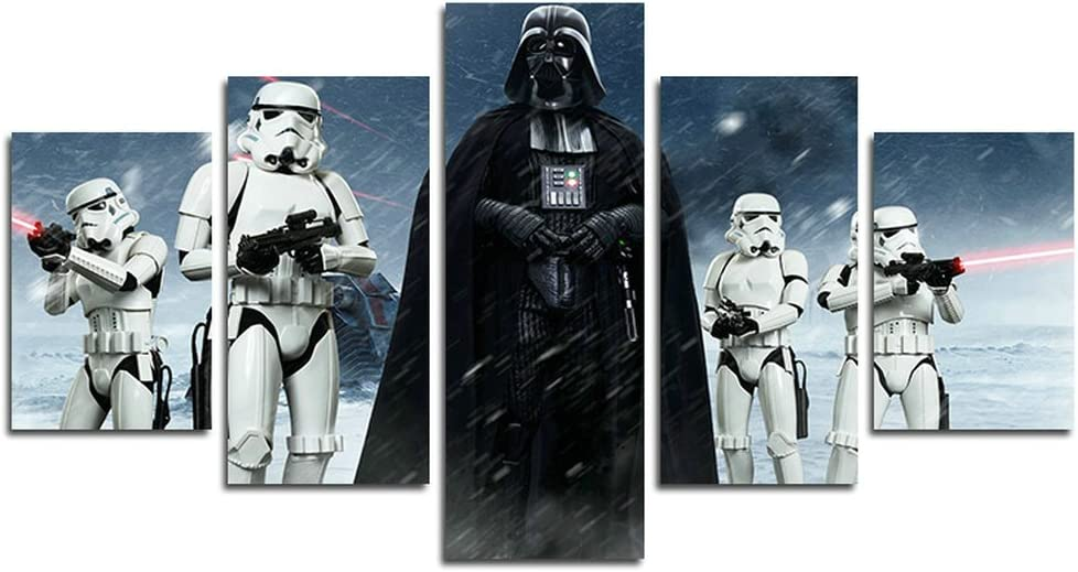Amazon Com Atfart 5 Piece Star Wars Darth Vader Painting For Living Room Home Decor Canvas Art Wall Poster No Frame Unframed Hb41 50 Inch X30 Inch Posters Prints