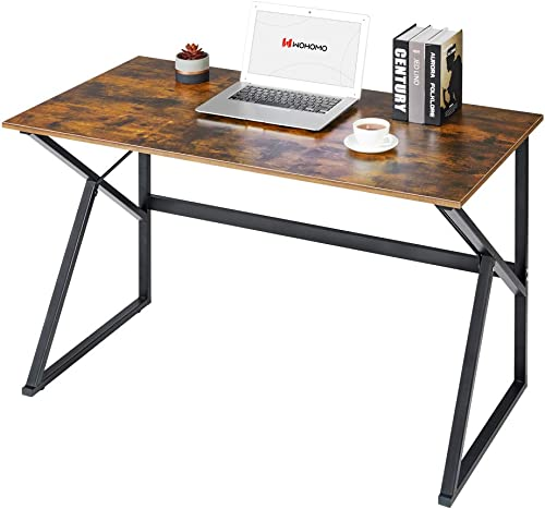 WOHOMO Computer Desk Small Desk Study Writing Desk Simple Home Office Desk 47″ Wood and Metal Desk