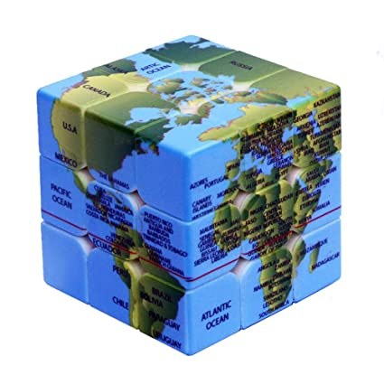 Cube World Map.Amazon Com Speed Cube World Map Design Magic Cube Puzzle Iq Games
