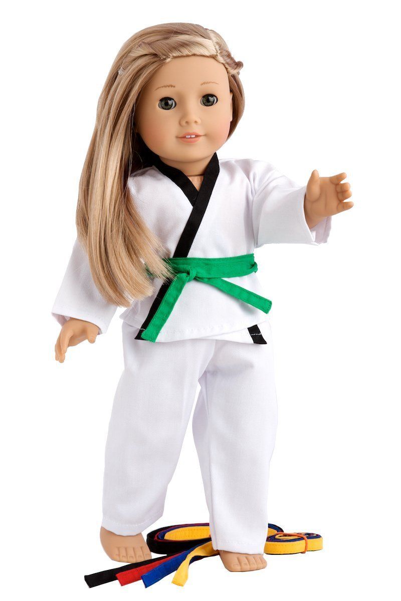White Karate / Tae Kwon Do Outfit Includes Blouse, Pants and 5 Belts - Yellow, Green, red, Blue and Black - for 18inch Our Generation for American Girl Doll NAA02