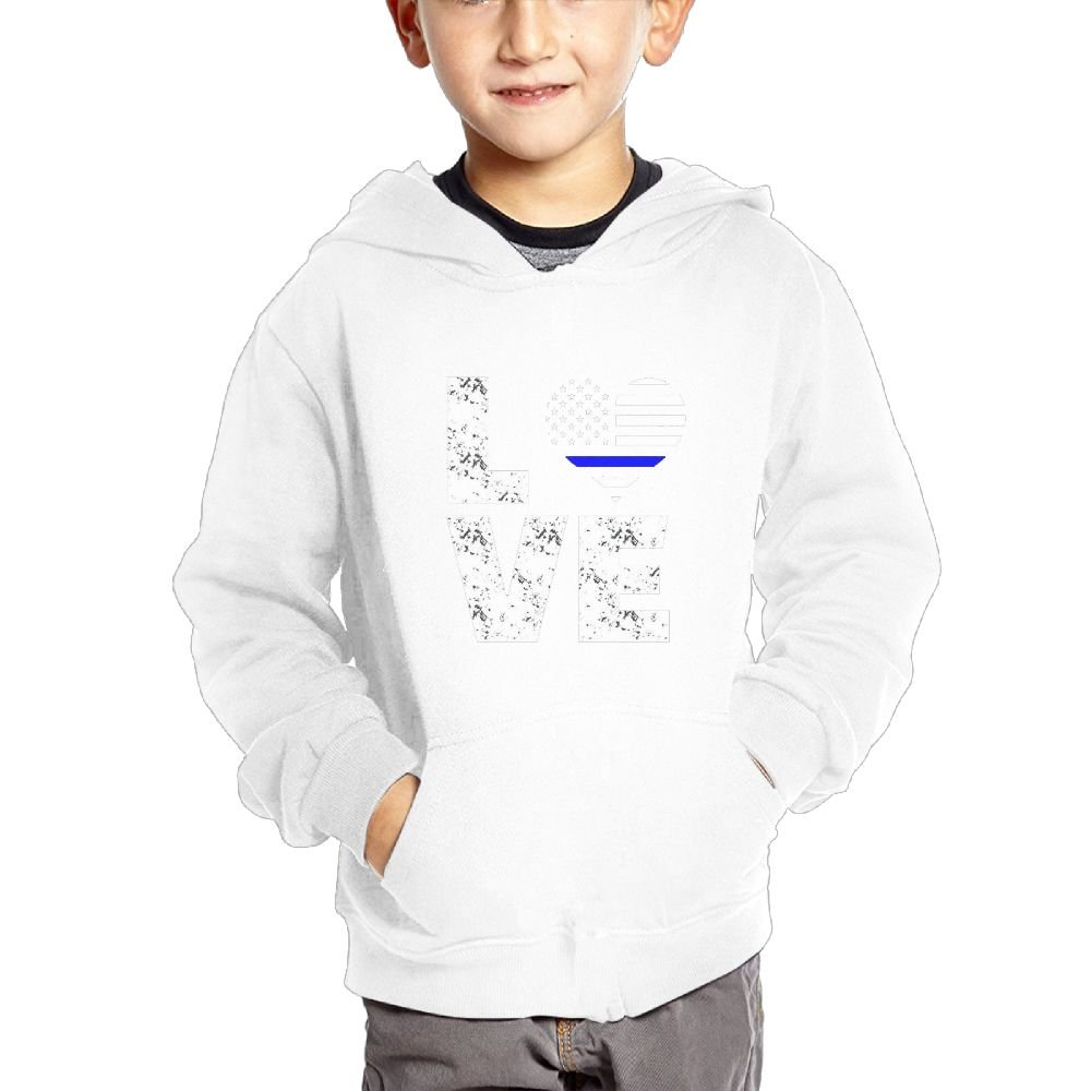 Love Thin Blue Line Fashion Hooded Pocket Sweater for Children Spring//Autumn//Winter Outfit Long-Sleeved Hoodie