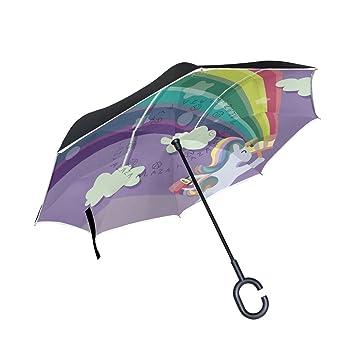 MAILIM Paraguas Reversible para Coche, Diseño de Unicornio Arcoíris de Colores, Color Morado,