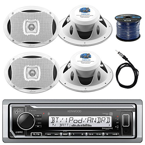 Kenwood Marine Digital Media Bluetooth Receiver, 4x Lanzar 6'X9'' Marine White Speakers, Marine 50 FT 16-G Tinned Speaker Wire, Antenna - 40