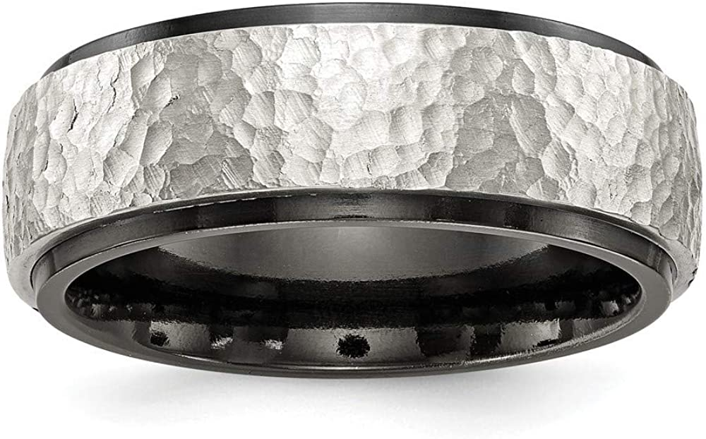 Roy Rose Jewelry Edward Mirell Jewelry Collection Black Titanium Argentinium Sterling Silver Hammered 8mm Band Ring Size 10.5