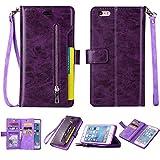 iPhone 6S Plus Case, iPhone 6 Plus Case, Folice Zipper Wallet Case [Magnetic Closure]& 9 Card Slots, PU Leather Kickstand Wallet Cover Durable Flip Case for Apple iPhone 6S & 6 Plus (Violet)