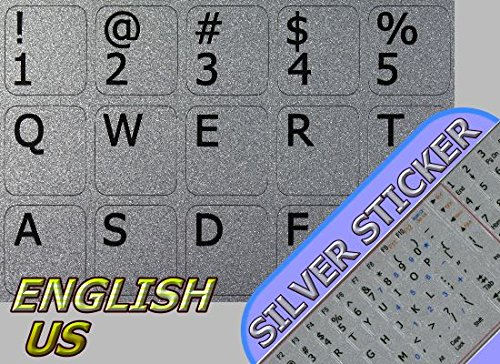 English US Notebook Non-Transparent Silver Keyboard Stickers