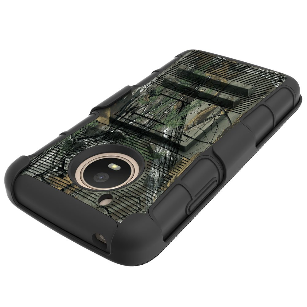 Moto E4 (4th Generation) Case, Binguowang Heavy Duty Shockproof Dual Layer Hybrid Armor Defender Full-Body Protective Case Cover with Belt Clip Holster and Kickstand For Motorola Moto E4 (Camo) by Binguowang (Image #4)