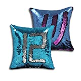 Sequin Mermaid Pillow Covers Magic Reversible Pillow Cushion Case 16 x 16 inch (No Pillow Insert)