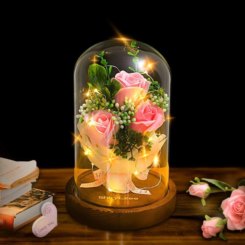 Shirylzee Encantada Rosa La Bella y La Bestia Rosas Artificiales con luz LED Base de Madera Regalo para día de San Valentín Día de la Madre de cumpleaños de Boda de Aniversario decoración del hogar