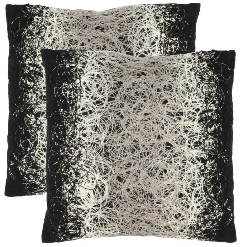Safavieh Pillow Collection 18-Inch Modern Spirals Pillow, Black and White Embroidered, Set of 2