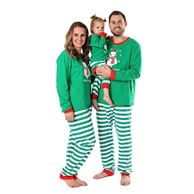 3078d9d7d Baywell Family Pyjama Matching Set Print Top+Stripe Pants Cotton ...