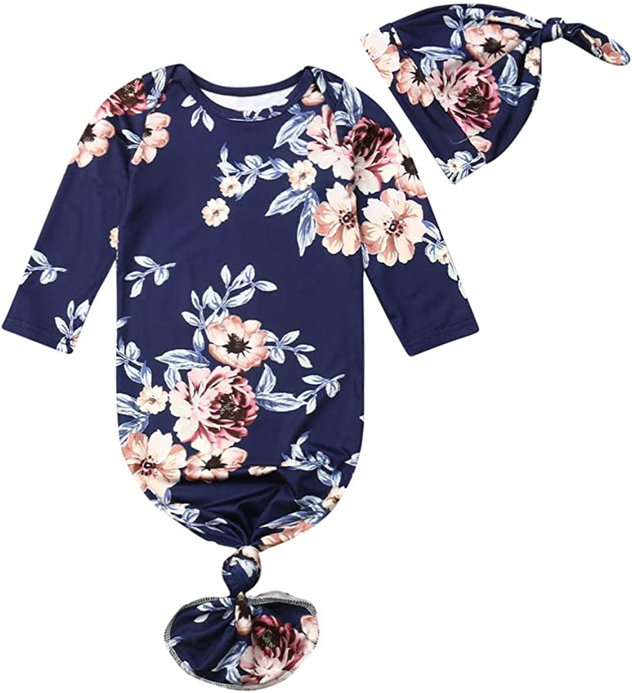 0-6M Newborn Baby Girl Cotton Sleep Gown Floral Navy Blue Knotted Sleep Bag Nightgown with Infant Hat