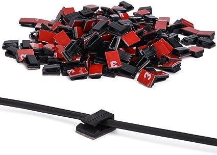 Noir Clips de C/âble Adh/ésif Autocollant 3 m 200 pcs Fil de mur Organiseurs de Voiture Pince Clips de Gestion Fil Cordon Support Pour Voiture au Bureau et /à Domicile