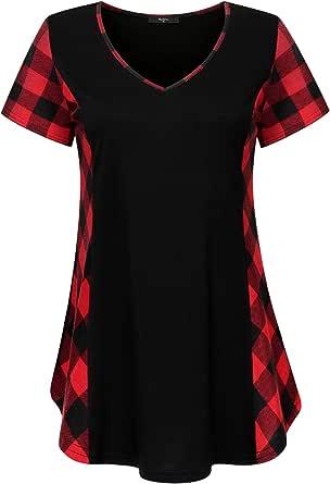 Marbetia Womens Plaid Blouses Short Sleeve T-Shirt V-Neck Loose Tunic Tops