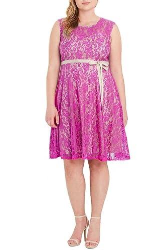 Womens Fashion Sleeveless Lace Fit Flare Sweatheart Bow Dress Plus Size USA