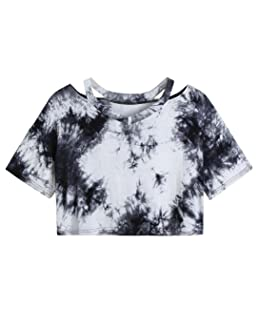 Paymenow Women's Tie Dye Blouse Short Sleeve Casual Crop Tee Shirts Tops (XL, Black)