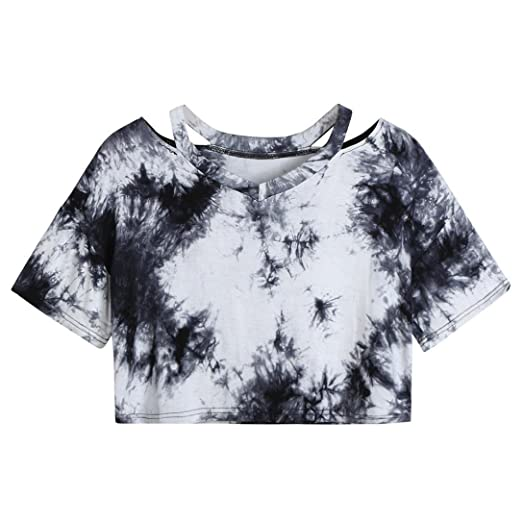 d053fcdc1a880 Paymenow Women s Tie Dye Blouse Short Sleeve Casual Crop Tee Shirts Tops  (S
