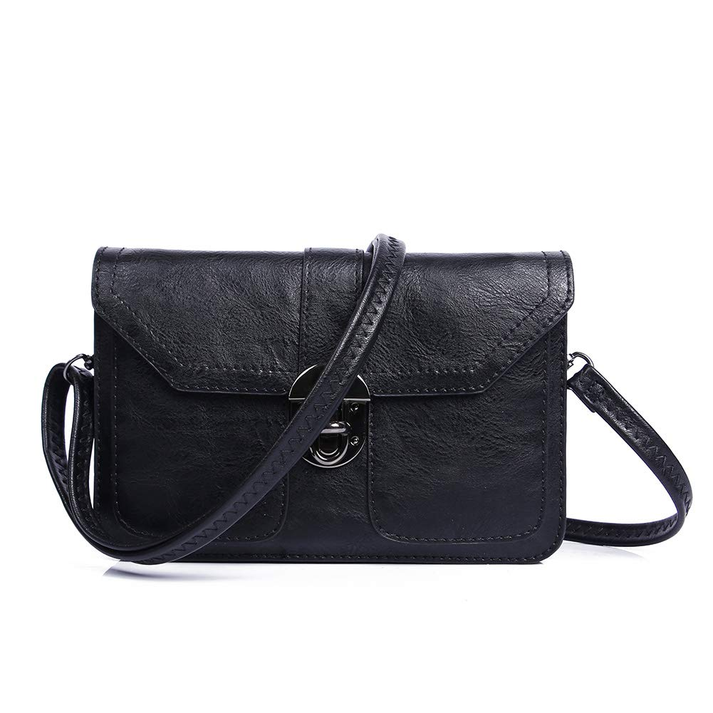 Black Womens Small Crossbody Bags Cell Phone Wallet Purse Bag for Women by TENXITER