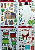 Christmas Window Clings, Build Your Own Train, Santa, Snowman, & Nativity - 4 Sheets