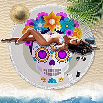 GSYAZTT Flores Cráneo Borlas Grandes Redondas Toallas de Playa Impreso Círculo Toalla Grande Playa 150 Cm Toallas de Microfibra Servilleta Tarta Color1 ...