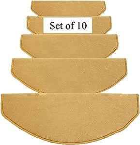 ZENGAI Alfombra de la Escalera 10 Piezas, Alfombrillas de Escalera, Autoadhesivo, Antideslizante, Color sólido, semicírculo, 4 Colores (Color : Camel, Size : 75cmx24cm): Amazon.es: Hogar
