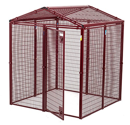 Animal House Ultra Heavy Duty Gable Covered Protective Kennel (6.2' Hx5'Lx5'W) 128.2 lbs by Animal House