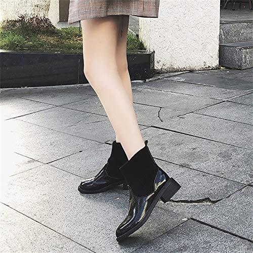 IWxez Damenmode Stiefel Lackleder Winterstiefel Chunky Heel Round Toe Mitte Mitte Mitte der Wade Stiefel Schwarz 821d1b