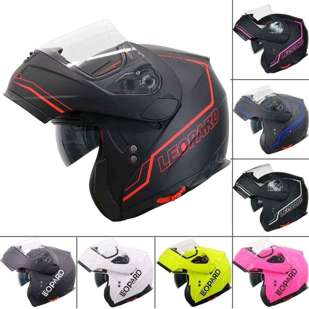 53-54cm Matt Black XS Leopard LEO-838 Double Visor Modular Flip up front Motorcycle Motorbike Helmet ECE 2205 Approved