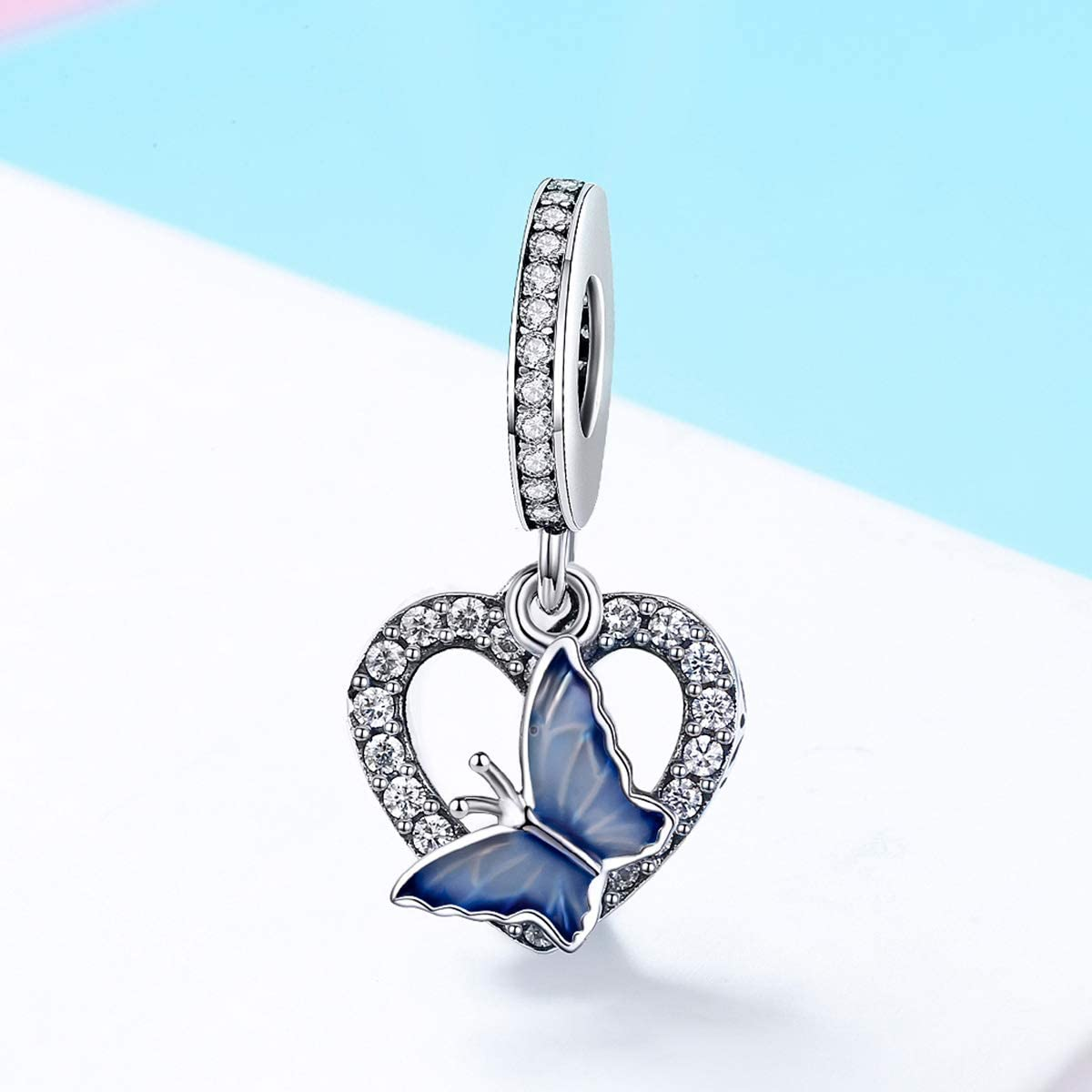 The Kiss Crystal Butterfly with Heart Shape Dangle 925 Sterling Silver Bead Fits European Charm Bracelet
