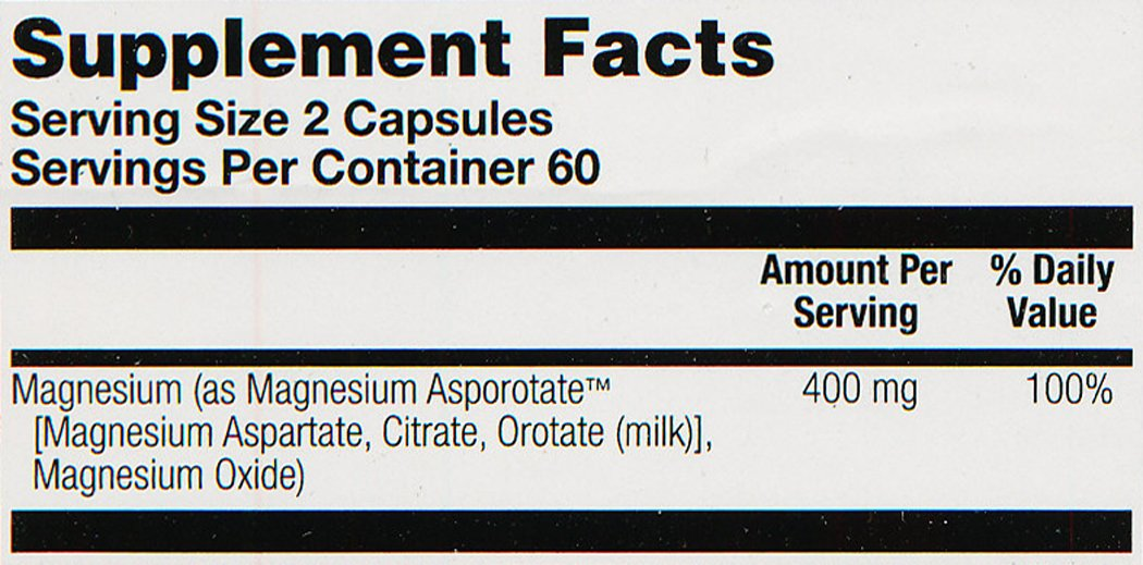 Solaray Magnesium Asporotate Supplement, 400 mg, 120 Count: Amazon.es: Salud y cuidado personal