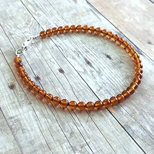 Silver Jewellery Amber Bracelets - Amber Bracelet, Genuine Baltic Amber Jewelry, Women's / Men's Sterling Silver Jewelry, Adult Amber Bead Bracelet, Orange Bracelet 4 mm 7 inch long