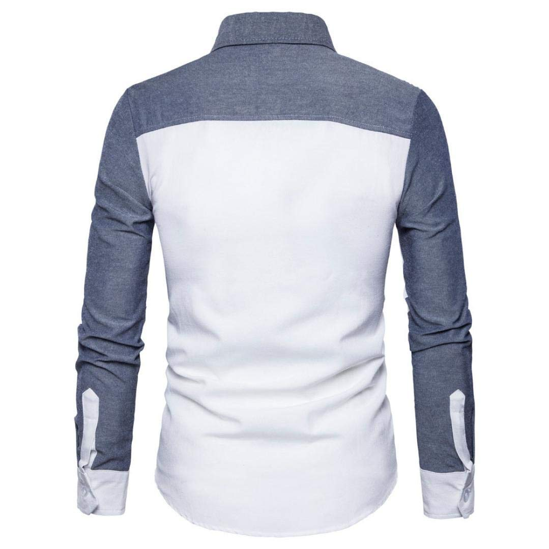 Mens Autumn Long Sleeve Oxford Formal Casual Fashion Suits Slim Fit T-Shirt Blouse Top Color Matching White for Mens