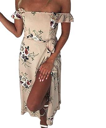 aba25f377f Gorgeya Womens Summer Maxi Beach Wedding Dress Off Shoulder Ruffles Floral  Casual Flowy Split Sundresses(Khaki XL): Amazon.co.uk: Clothing