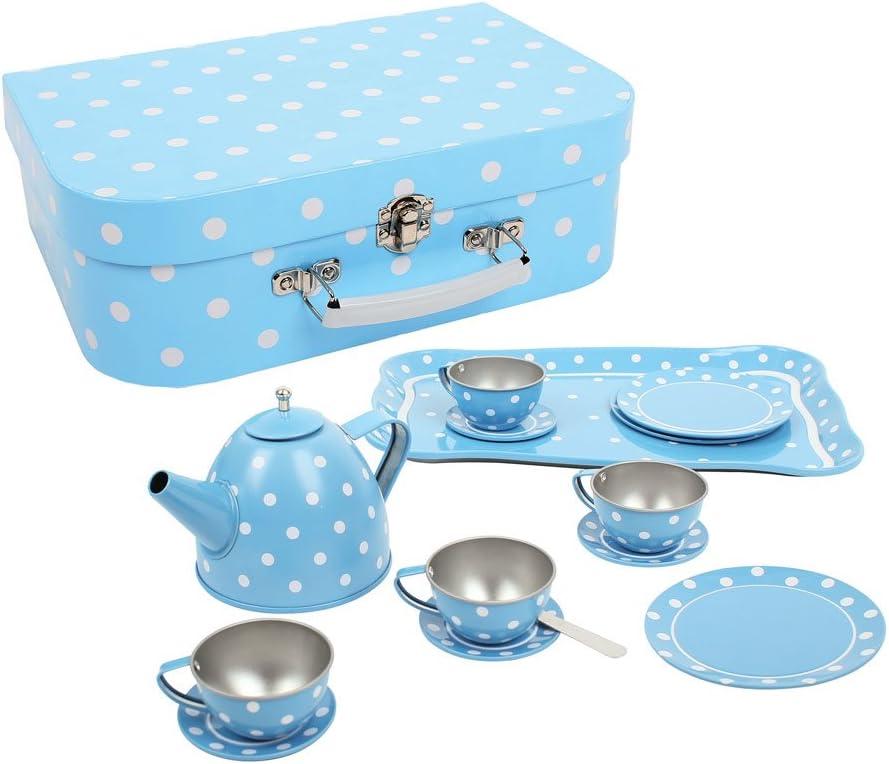 Matschküche Zubehör - Spielküche Garten - Bigjigs Toys Blau-weiß gepunktetes Teeservice