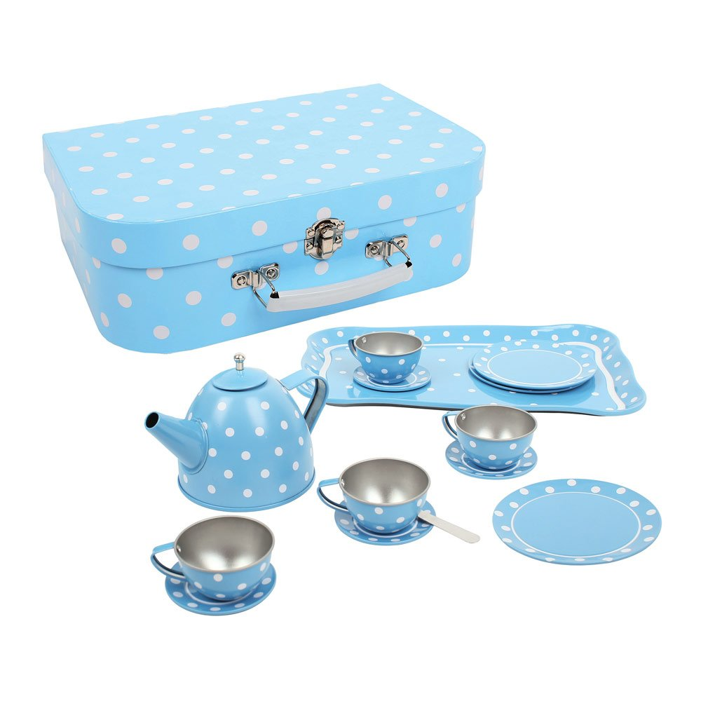 Bigjigs Toys Children's Blue Polka Dot Tea Set with Carry Case