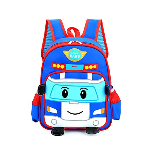 TweetQue Cute 3D Cartoon Car Nursery Kindergarten Toddlers Backpack Baby Kids School Book Bag for Boys