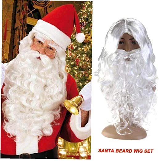 Vestido del Traje Blanco Santa Claus Bigote Fantasía Asistente ...