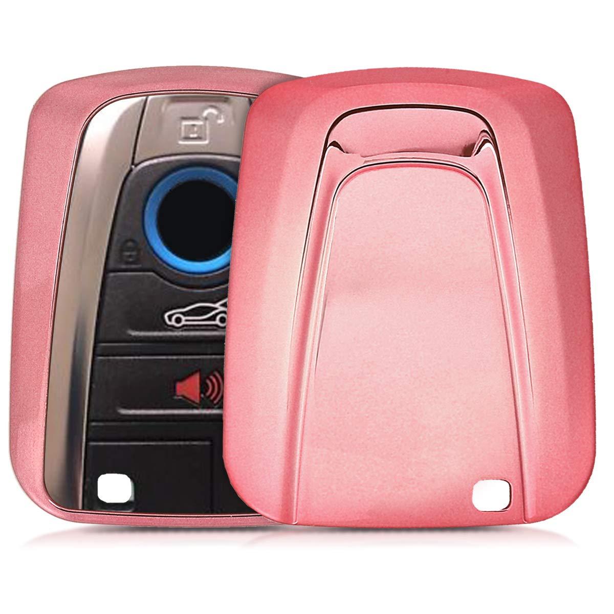 kwmobile Funda para Llave Smart Key de 4 Botones para Coche BMW - Carcasa Suave de TPU para Llaves - Cover de Mando y Control de Auto en Rosa Oro ...