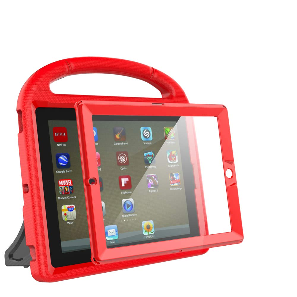 eTopxizu Kids Case with Built-in Screen Protector for iPad 4, iPad 3 & iPad 2, Shockproof Convertible Handle Stand Case Cover for iPad 2nd 3rd 4th Generation - Red by eTopxizu