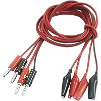 Cable de test - SODIAL(R) 2 paires fil de test de pince crocodile a Male Fiche banane Cord Cable 1M Rouge + Noir