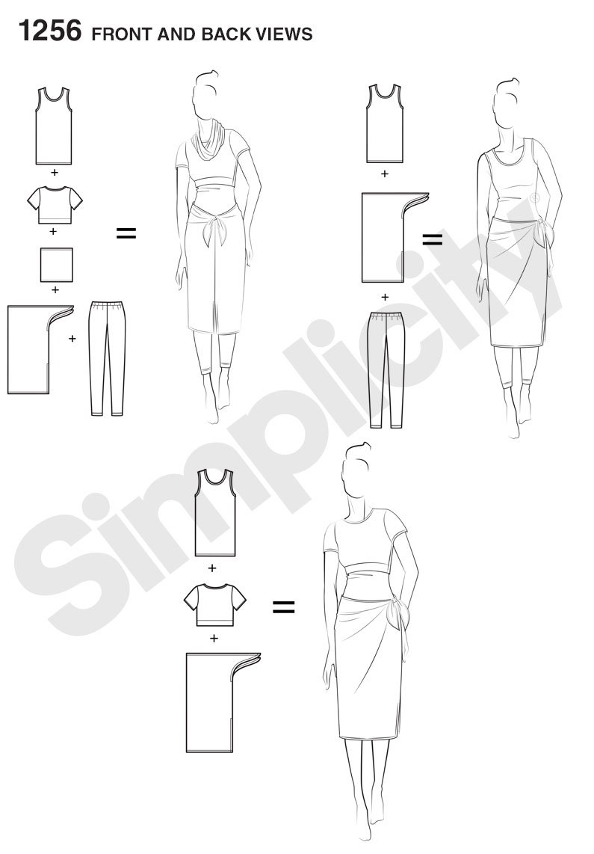 Tank-top Simplicity Multitaskers Beginner Pattern 1256 Misses Easy Knit Leggings Size 4-26 Sarong Crop Tee